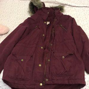 Burgundy fur parka jacket